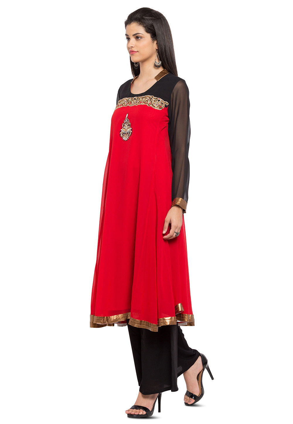 Embroidered Georgette Kurta in Red