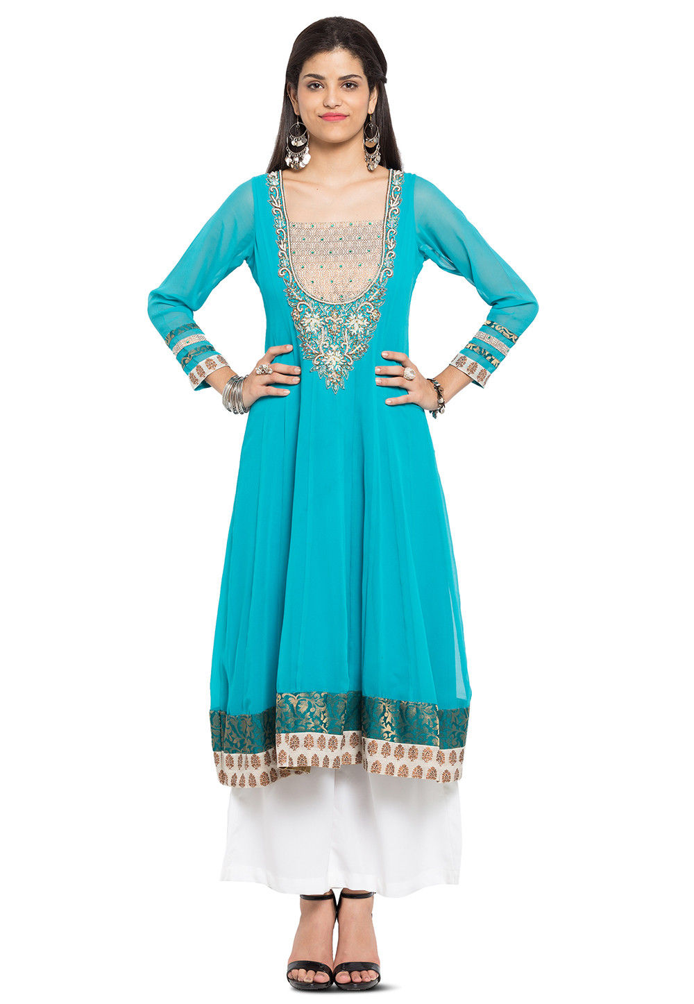 Hand embroidered georgette kurta in turquoise tnc