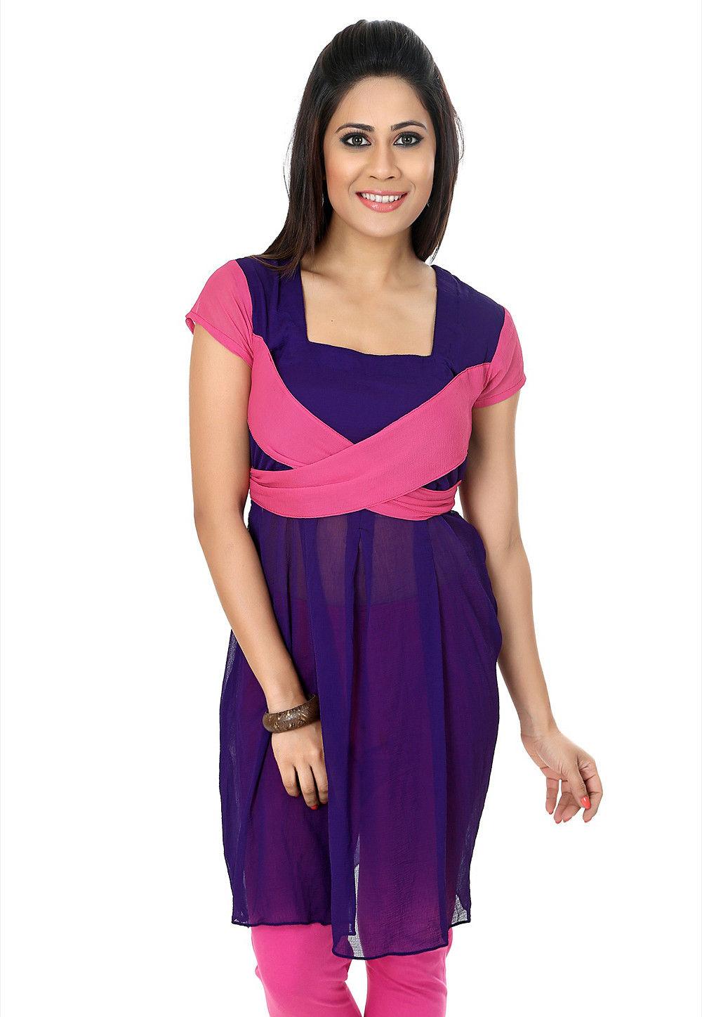 Plain Chiffon Tunic in Purple and Pink