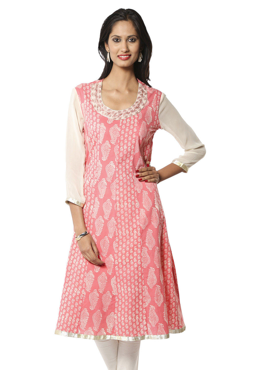 Block Printed Cotton Long Kurta In Old rose