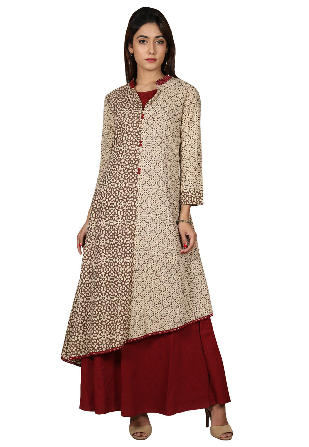 Printed Cotton Kurta with Jacket in Maroon