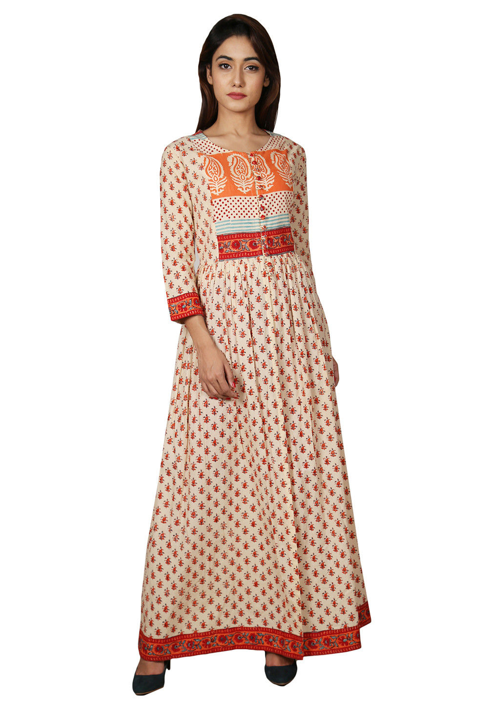 Printed Cotton Kurta Set in Beige