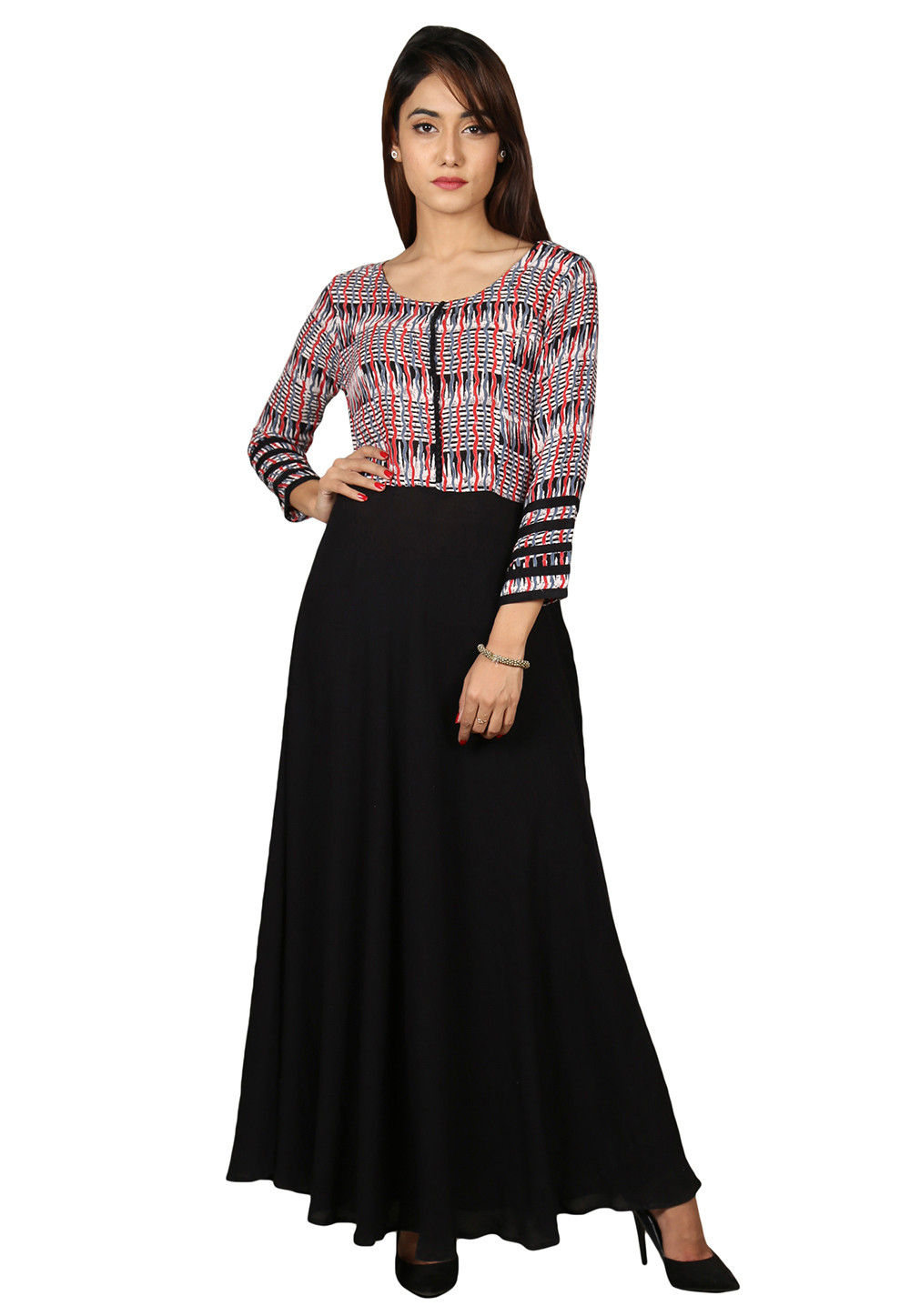 Printed Cotton Flared Kurta in Black and Multicolor