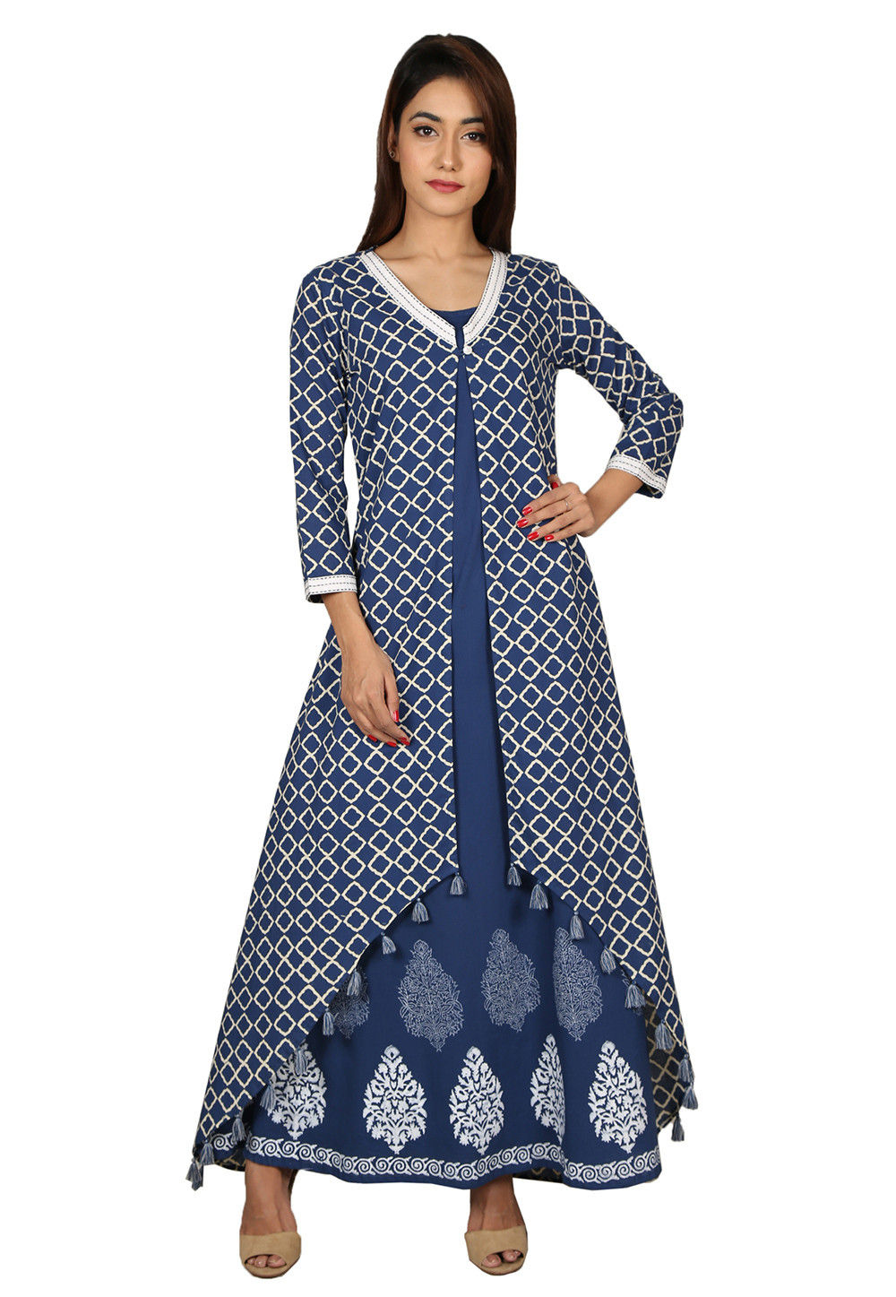 Printed Cotton Kurta with Jacket in Navy Blue