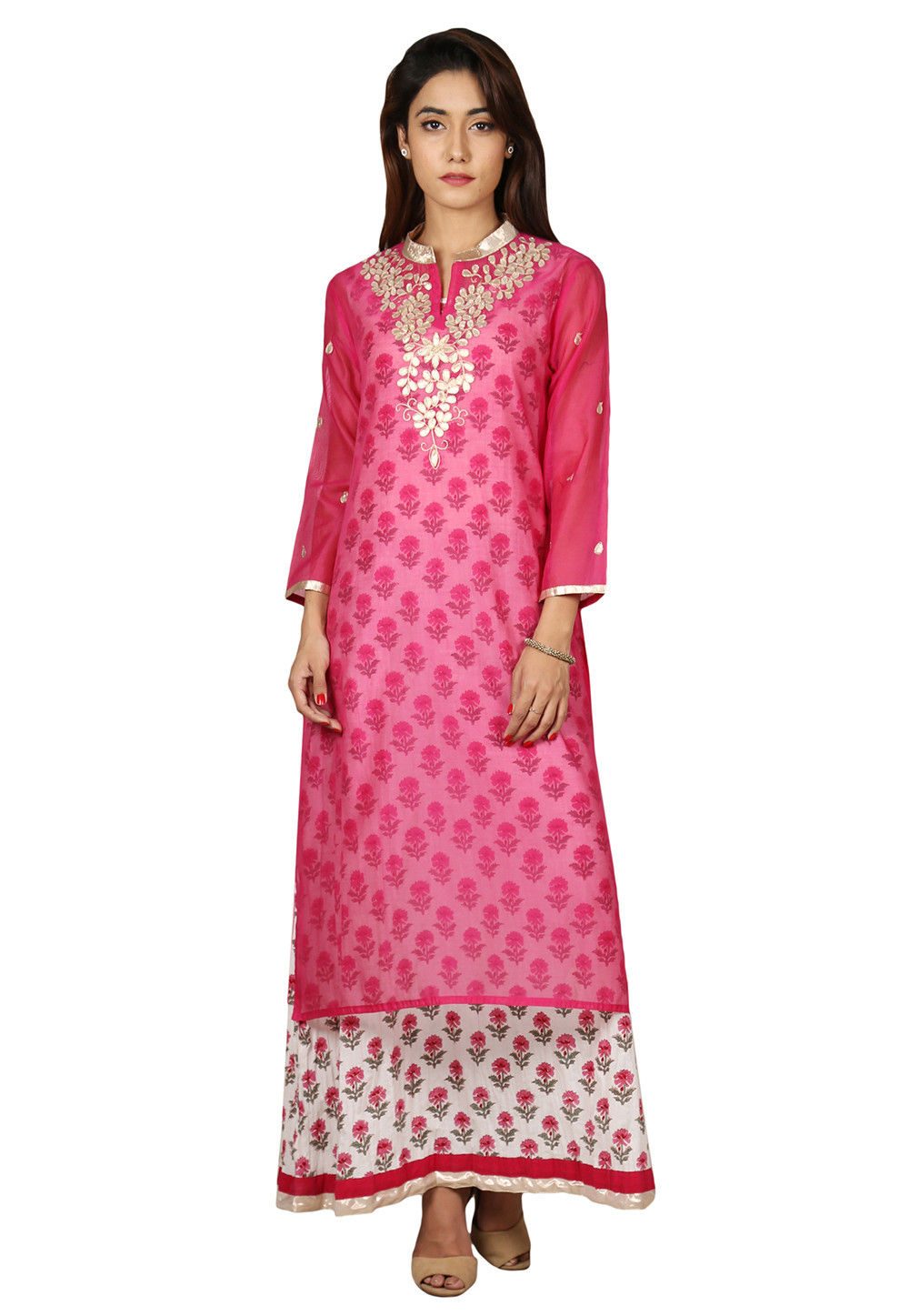 Printed Cotton Kurta with Jacket in Off White and Pink