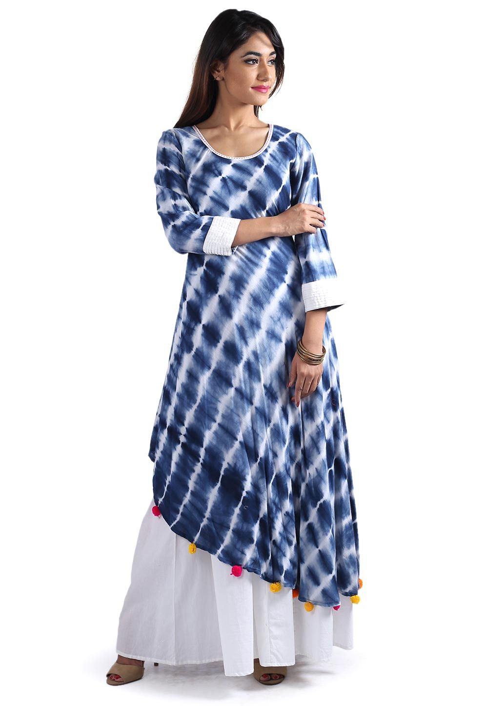 Tie Dyed Rayon Cotton Layered Long Kurta in Blue and White