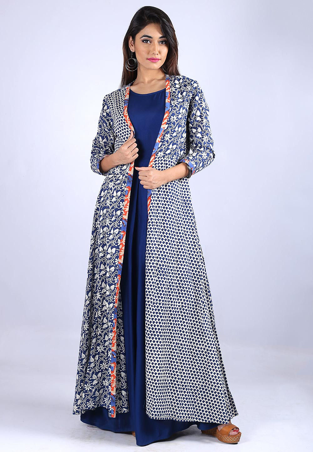 Dabu Printed Rayon Cotton Dress in Blue