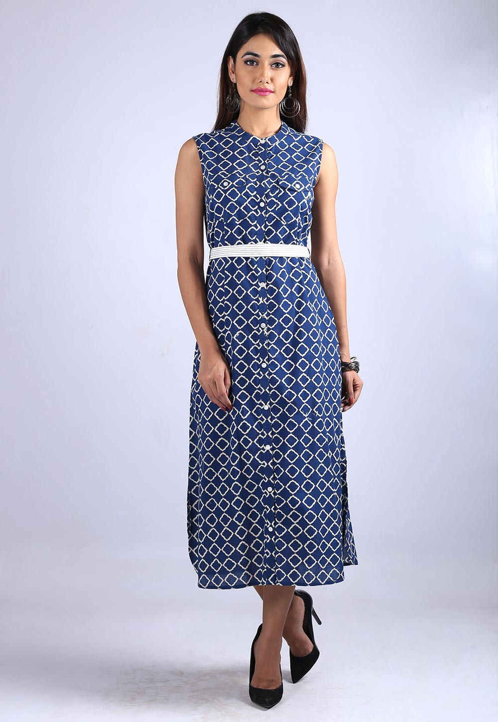 Block Printed Cotton Dress in Blue
