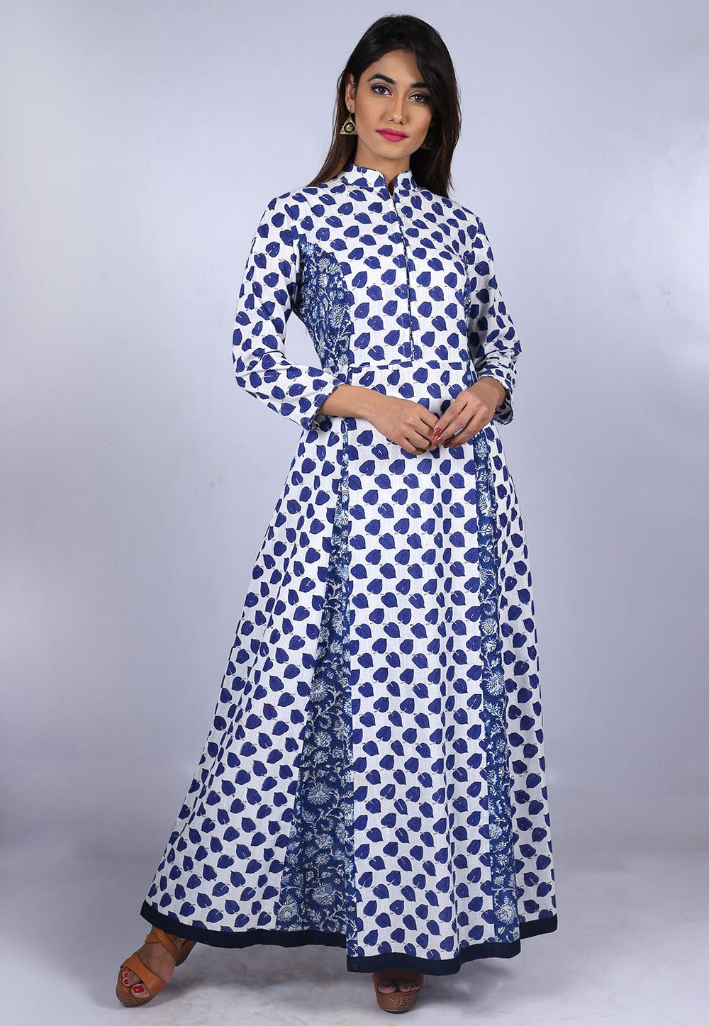 Block Printed Cotton Dress in White and Blue