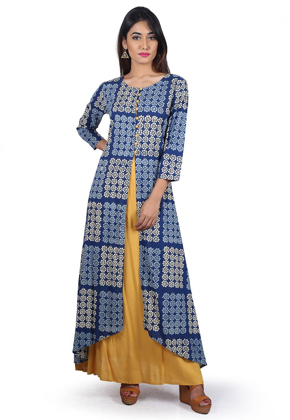 Block Printed Cotton Layered Long Kurta in Blue and Mustard