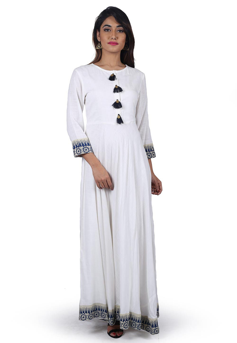 Block Printed Border Cotton Long Flared Dress in White