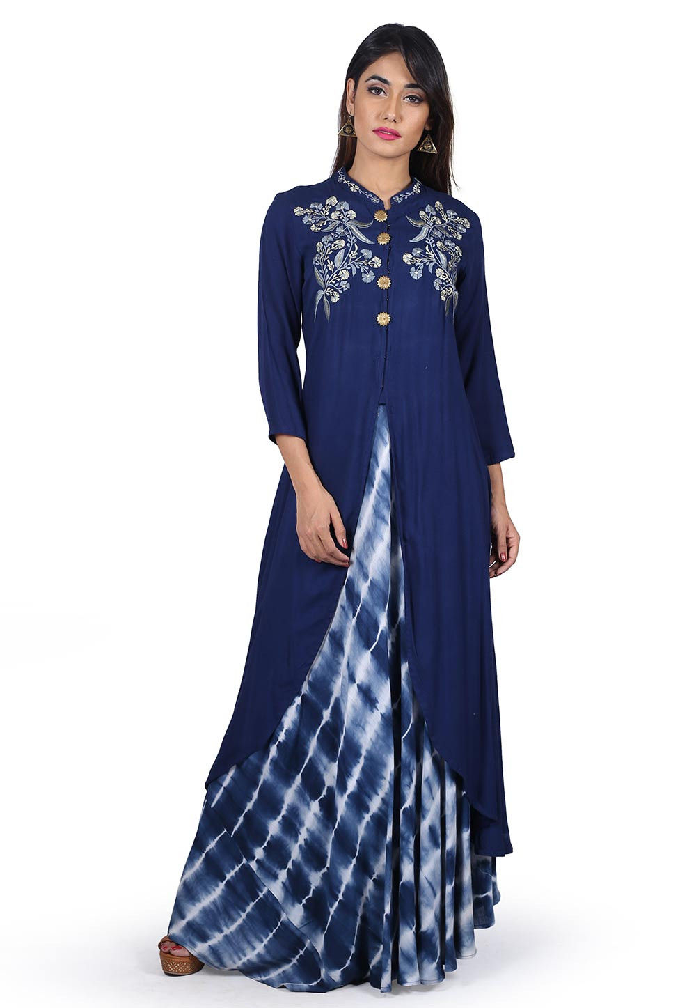 Tie Dyed Rayon Cotton Long Layered Kurta in Blue