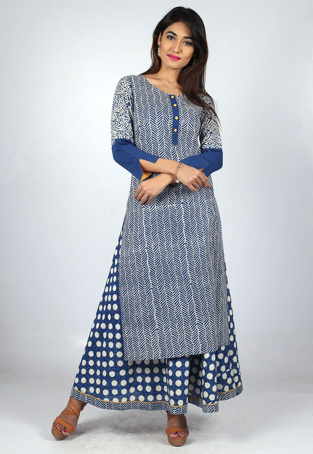 Printed Cotton Layered Long Kurta in Blue