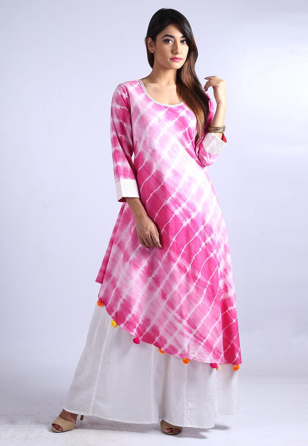 Tie Dyed Rayon Cotton Layered Long Kurta in Pink and White