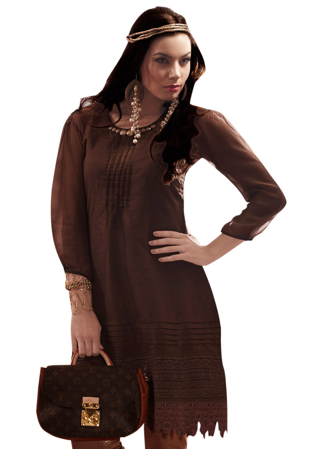 Remi Linen Kurti In Brown