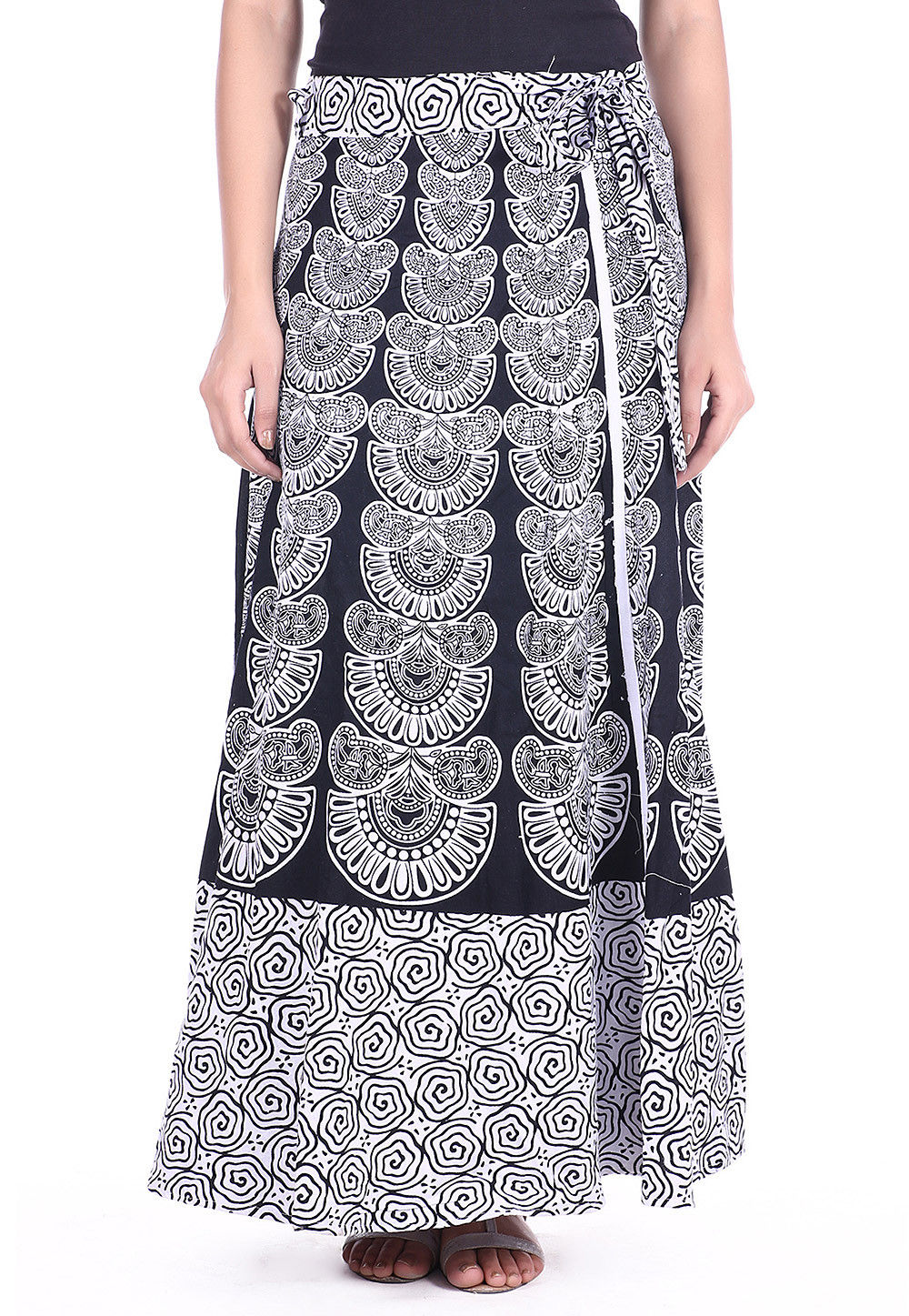 Abstract Printed Cotton Wrap Around Skirt in Black and White