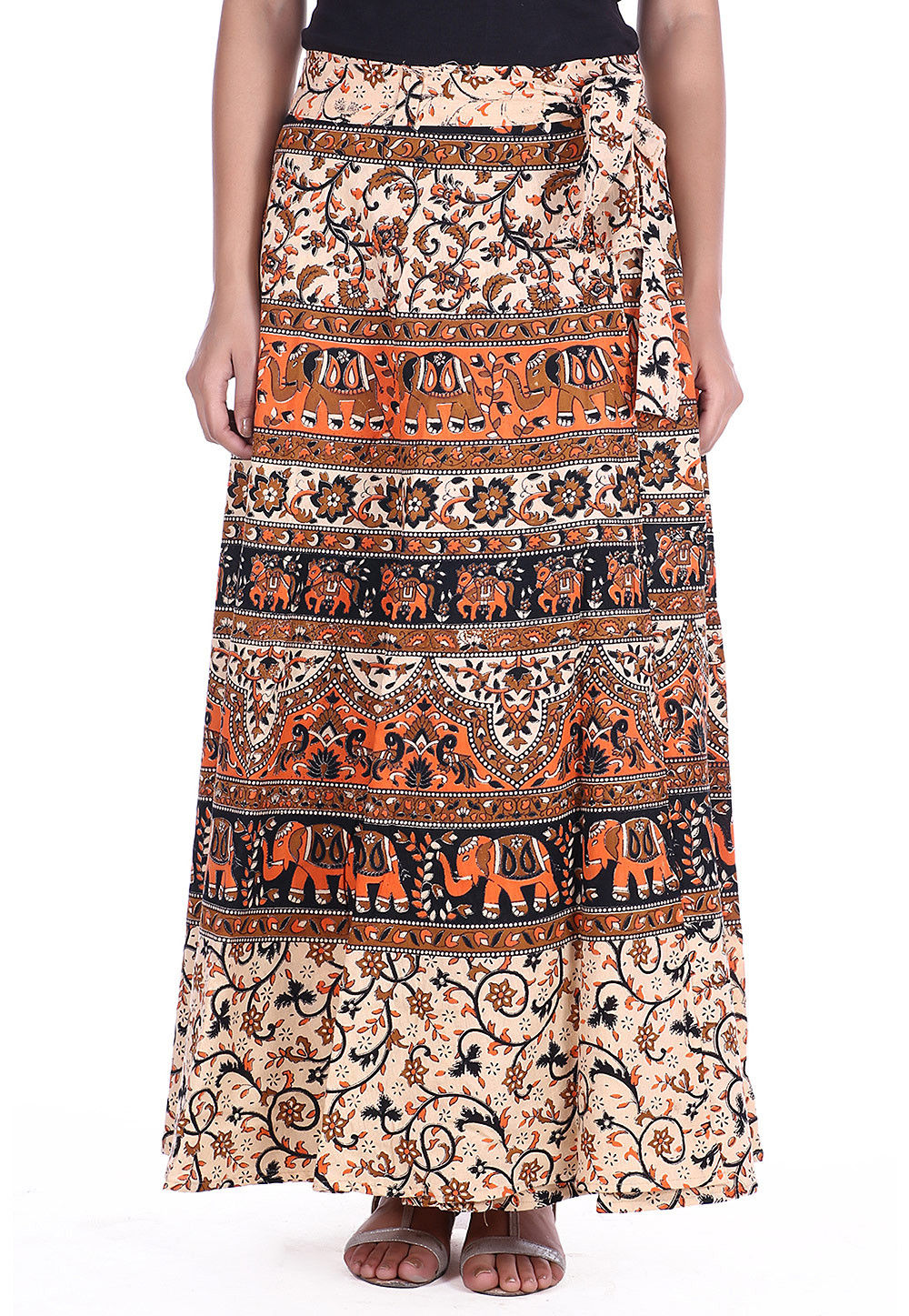 Bagru Cotton Wrap Around Skirt in Cream and Multicolor