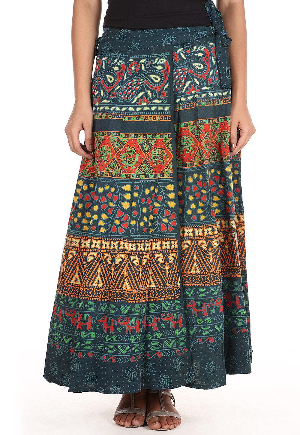 Sanganeri Cotton Wrap Around Skirt in Dark Dusty Teal Green