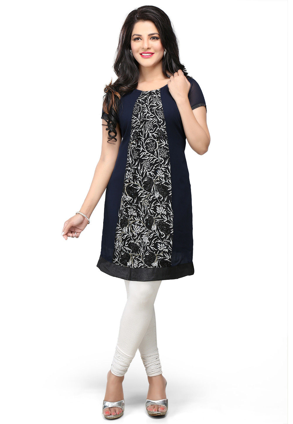 Printed Georgette Readymade Tunic in Navy Blue