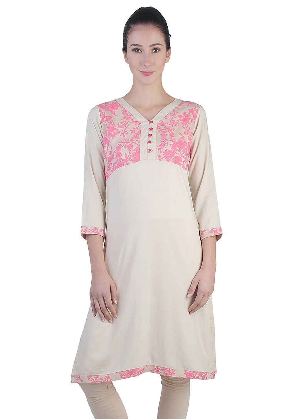 Printed kurti Rayon Cotton in Beige
