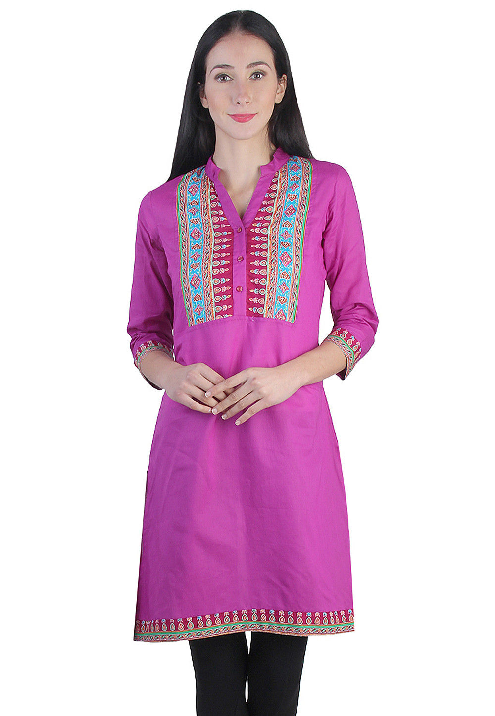 Printed Kurti Cotton in Pink