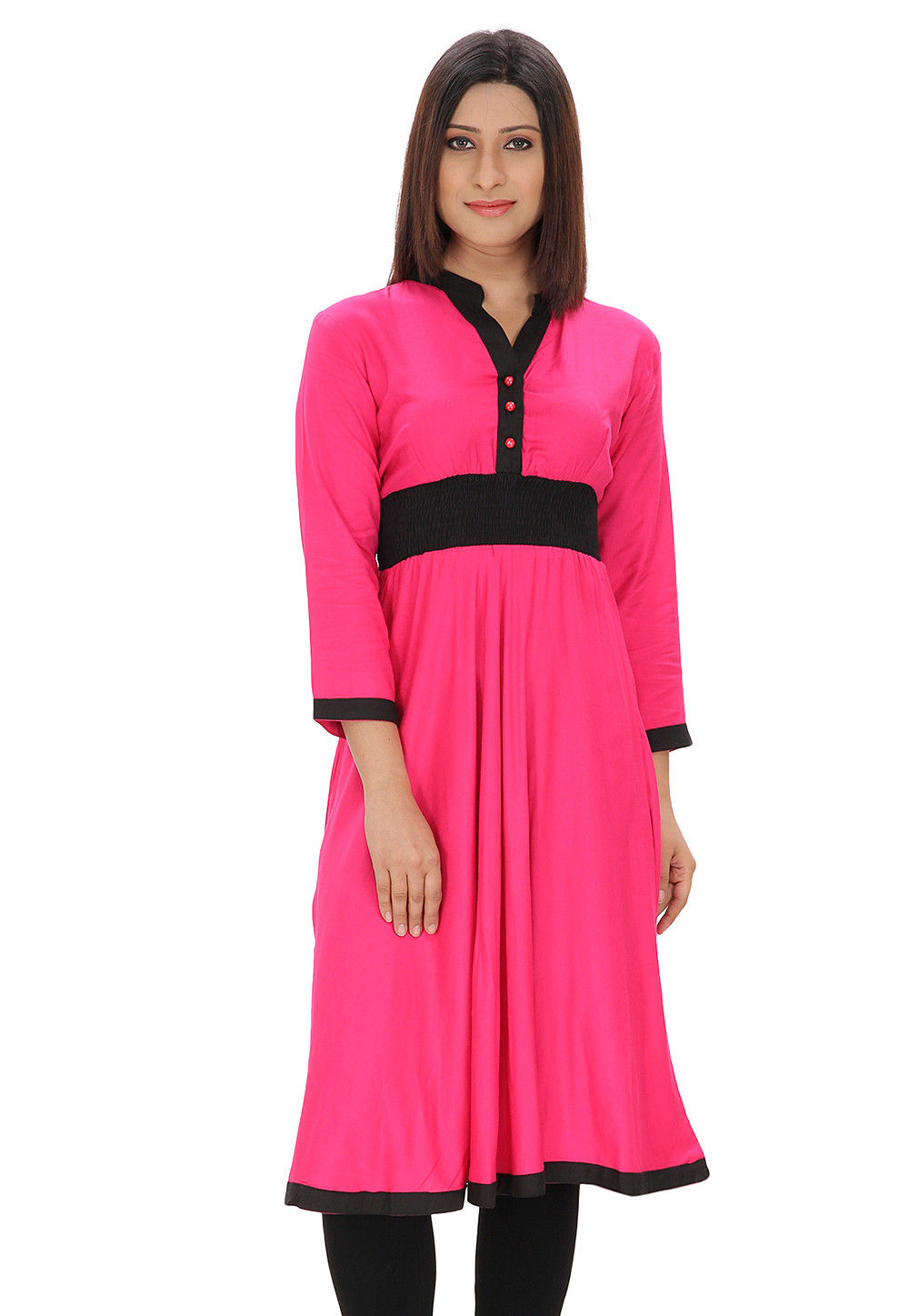 Plain Rayon Cotton Long Kurta in Fuchsia