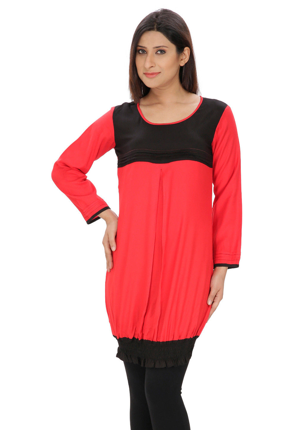 Plain Rayon Cotton Tunic in Coral and Black