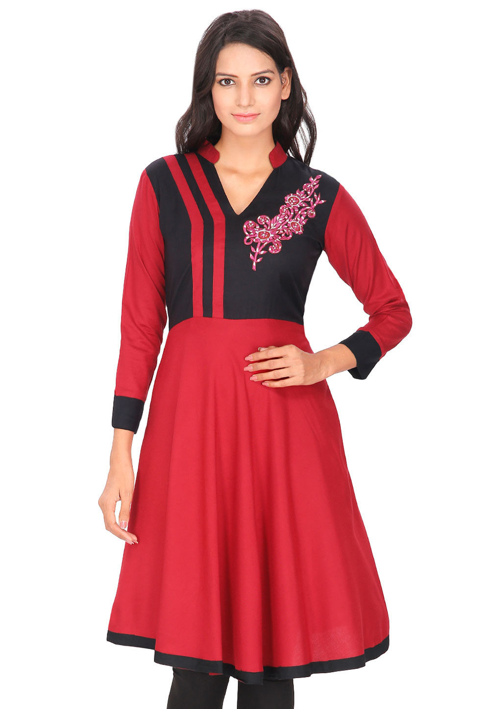 Floral Applique Rayon Flared Kurta in Red and Black