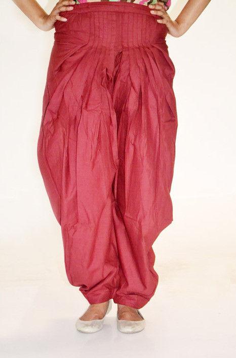 Plain Cotton Salwar in Red