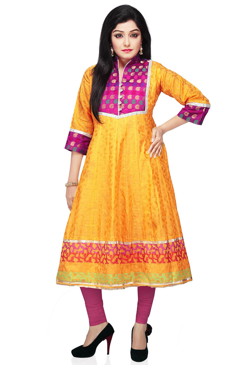 Woven Art Silk Jacquard Long Kurta in Mustard