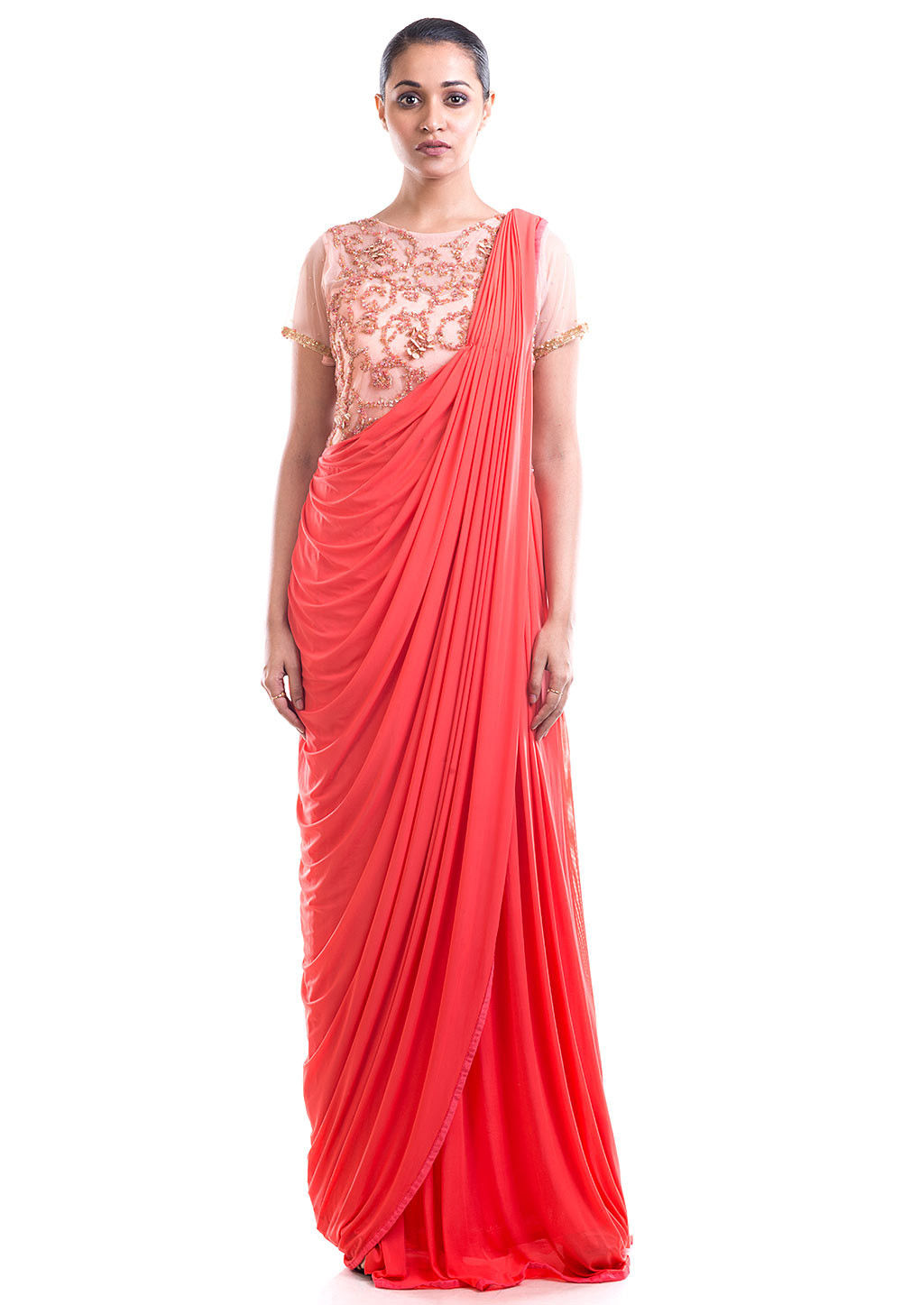 Hand Embroidered Net Saree Style Gown in Coral Red