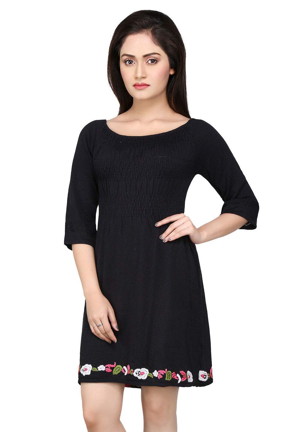 Plain Woolen Dress in Black