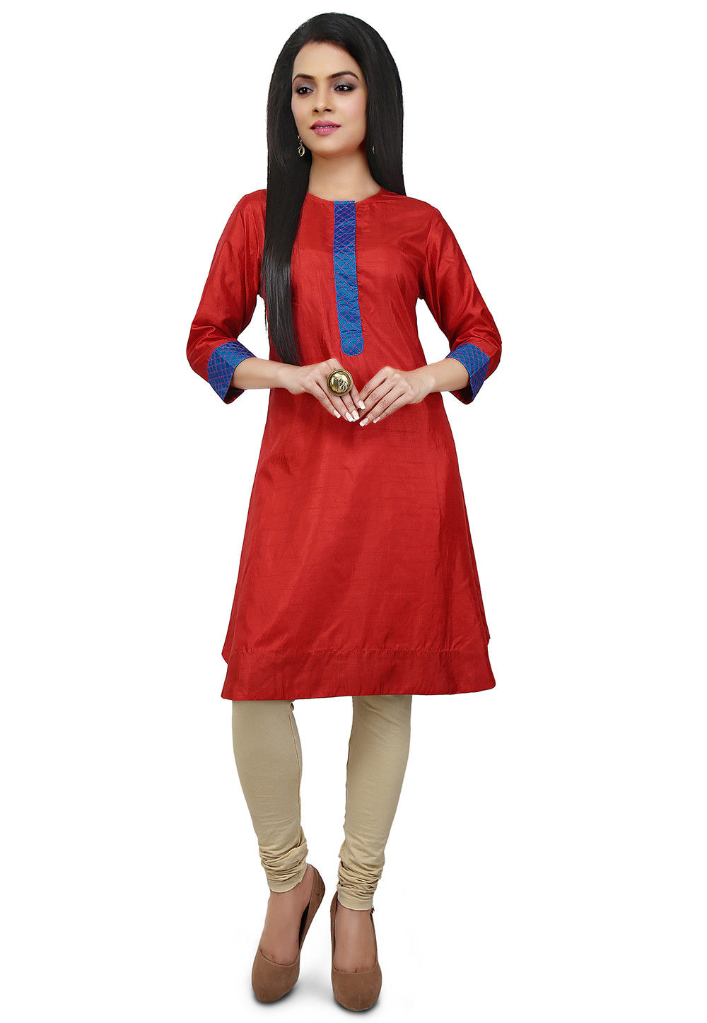 Contrast Placket Art Silk Straight Kurta in Red