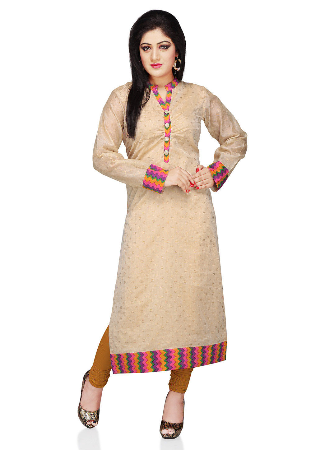 Printed Art Chanderi Silk Long Kurta In Beige