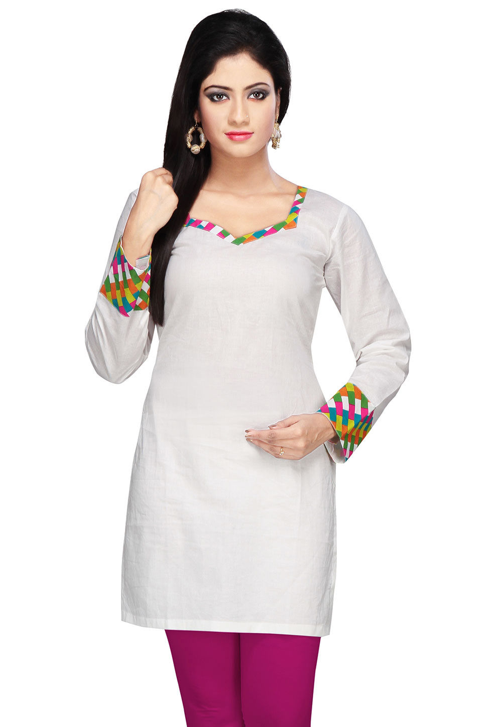 Plain Cotton Kurti in Off White