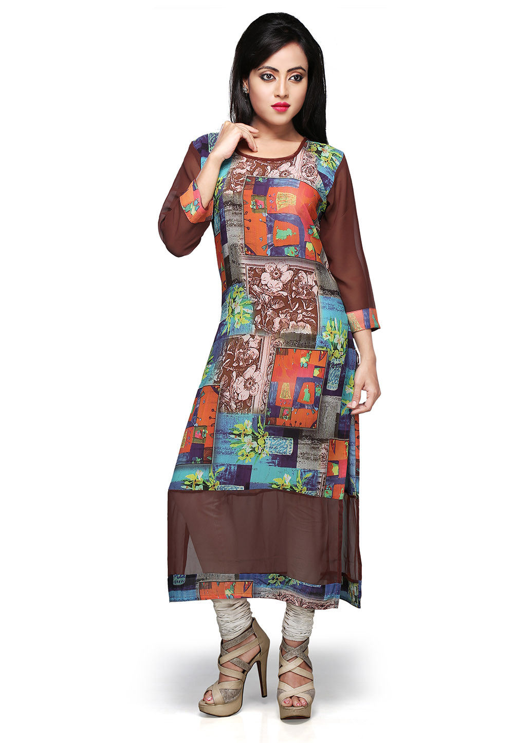 Printed Georgette Long Kurta in Multicolor