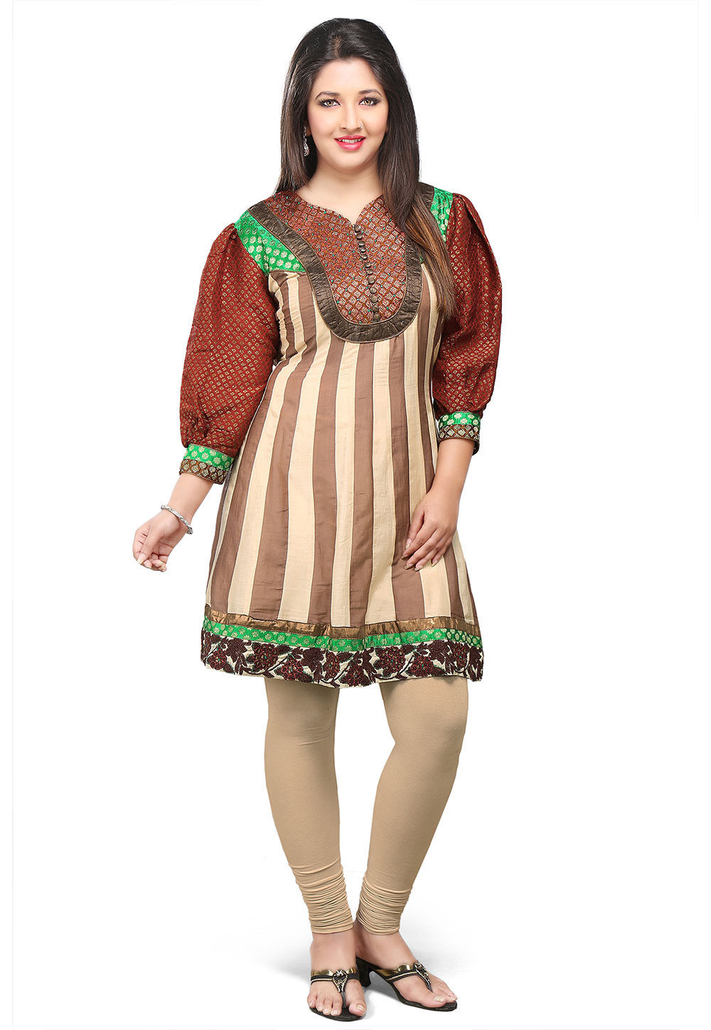 Chanderi Cotton And Art Silk Tunic In Beige