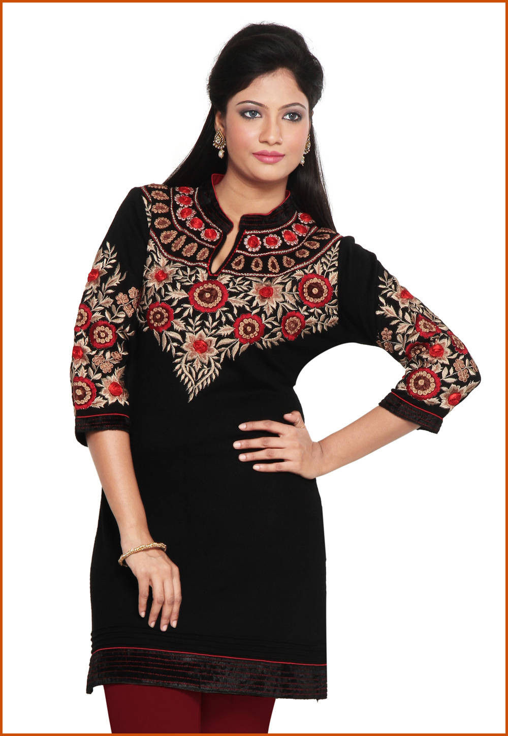 4d66887818 ... Embroidered Woolen Kurti in Black. Zoom