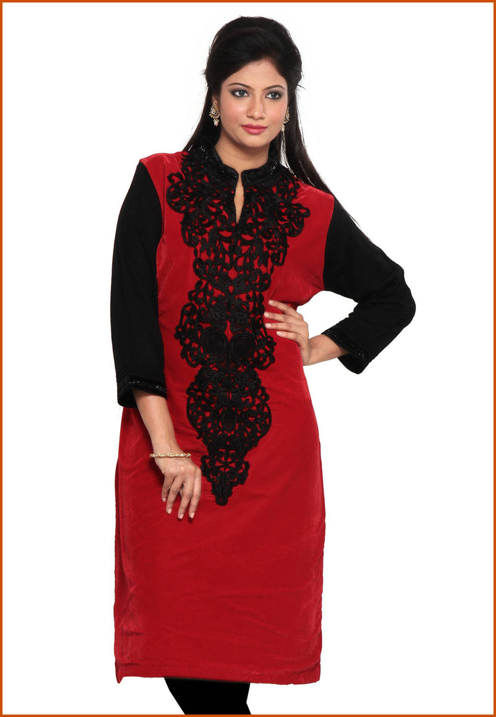 Embroidered Velvet and Woolen Long Kurta in Red