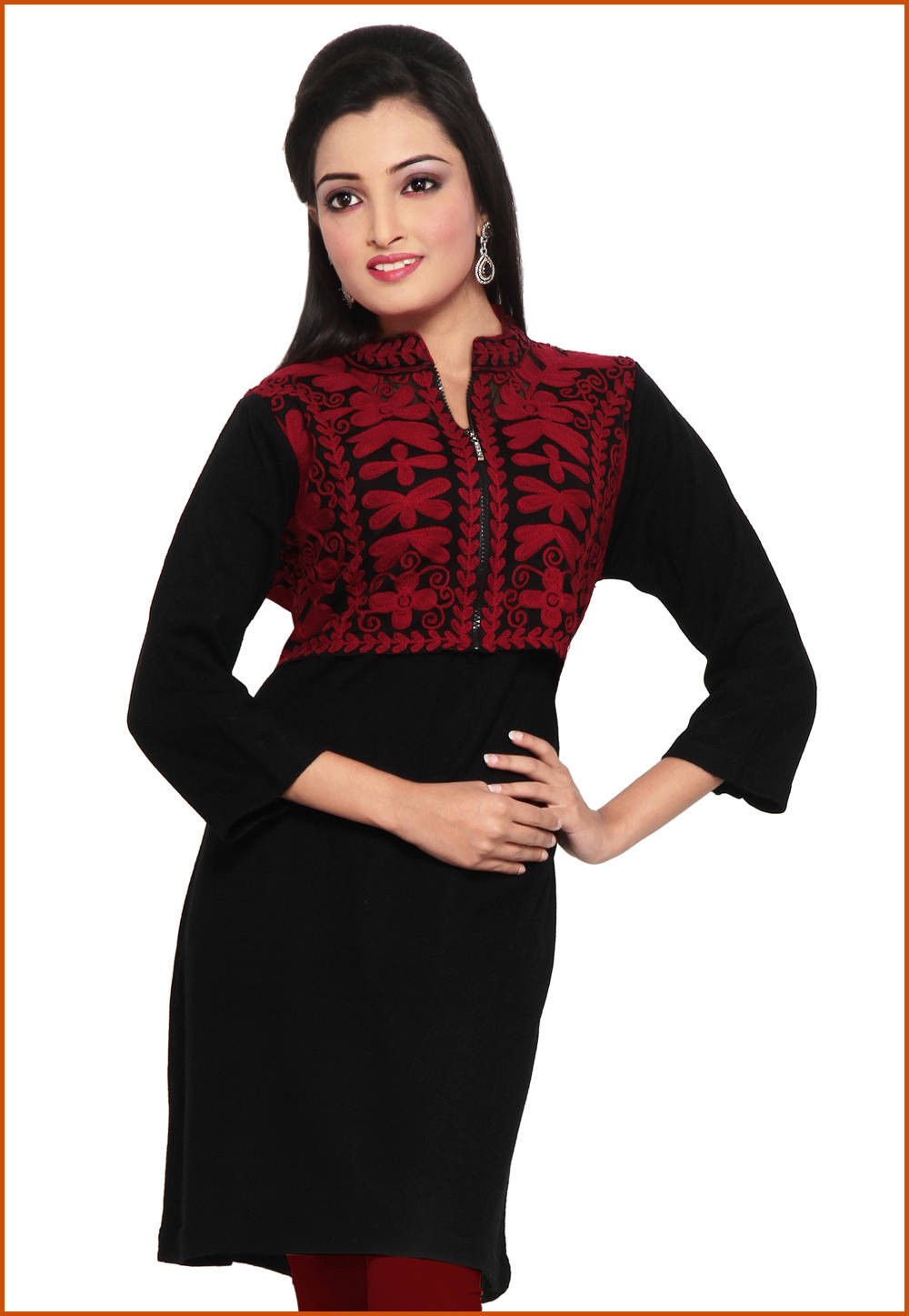 Embroidered Woolen and Net Kurti in Black
