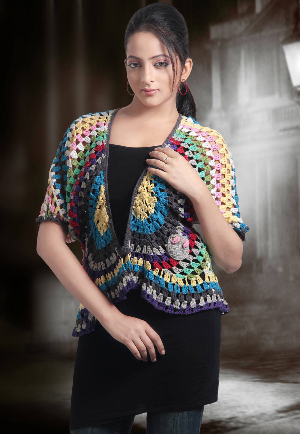Crochet Cotton Woolen Cardigan in Multicolor