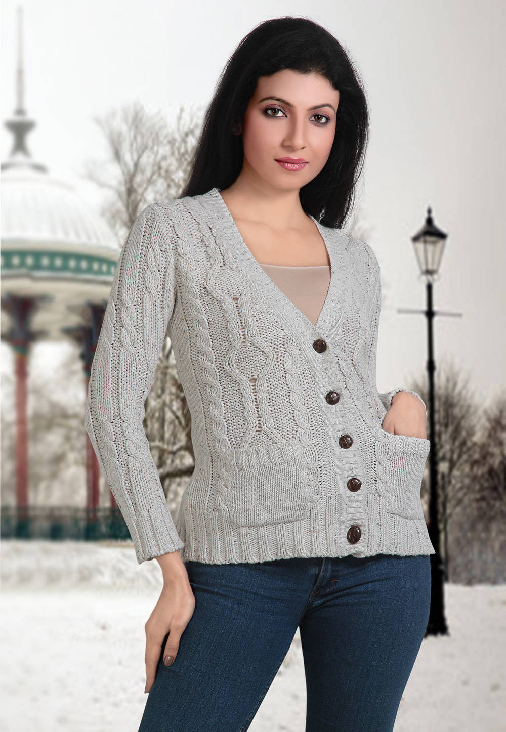 Hand Knitted Cotton Cardigan in Grey