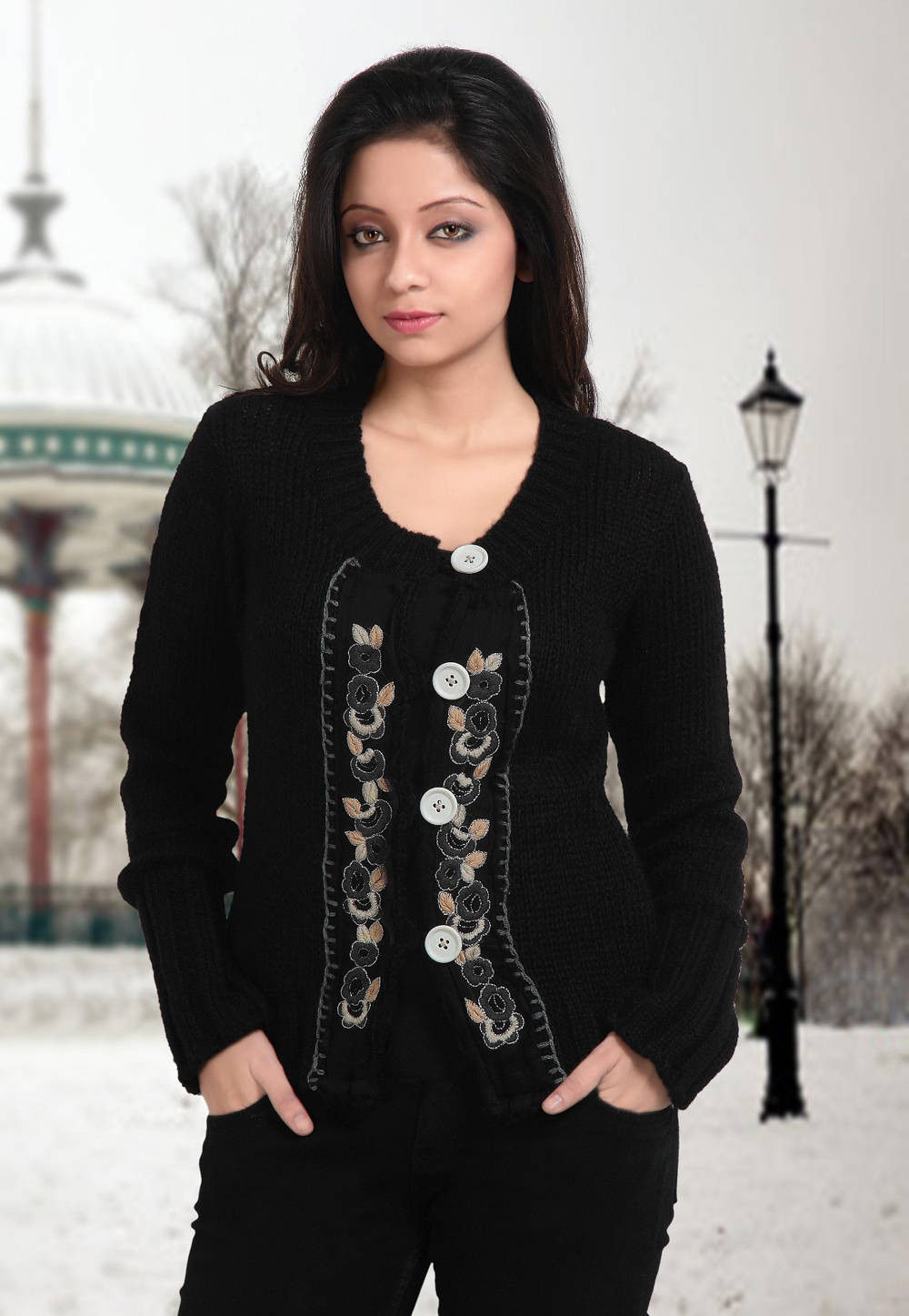 Hand Embroidered Acro Woolen Cardigan in Black