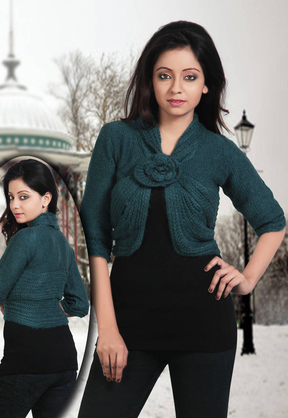 Woolen Shrug in Teal Blue