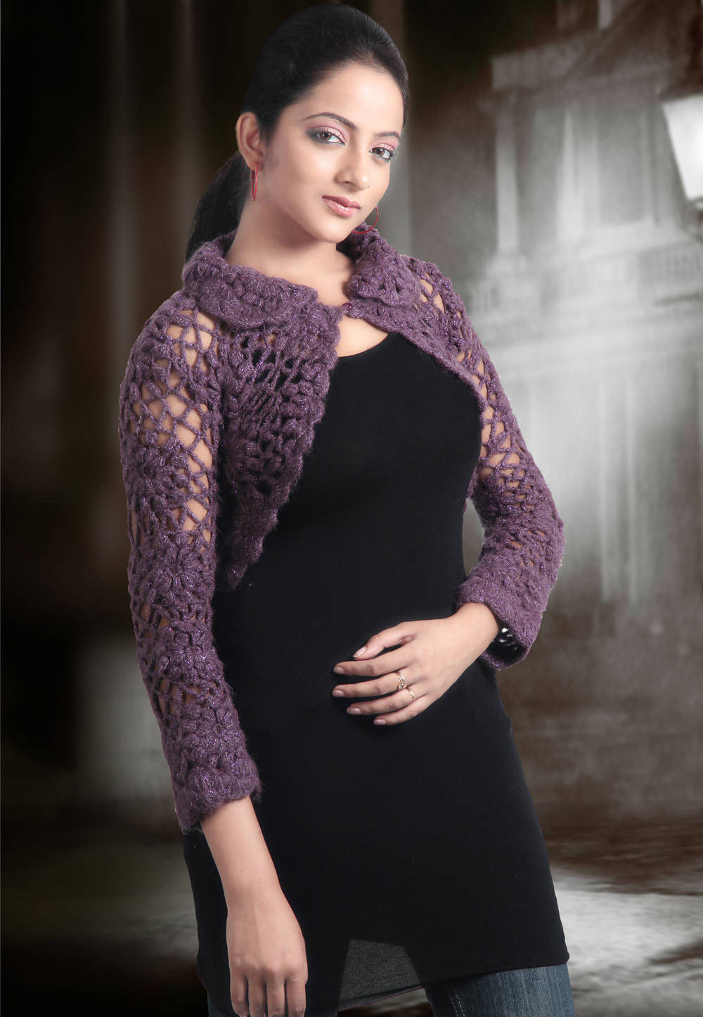 Handmade Acrylic Woolen Crochet Cardigan in Purple