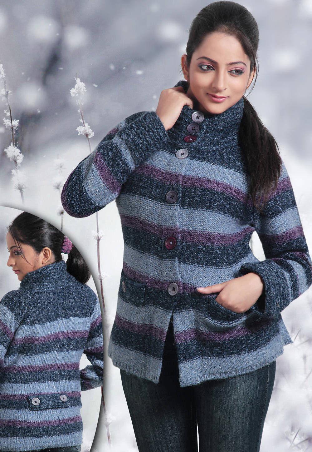 Woolen Blended Knitted Jacket in Blue