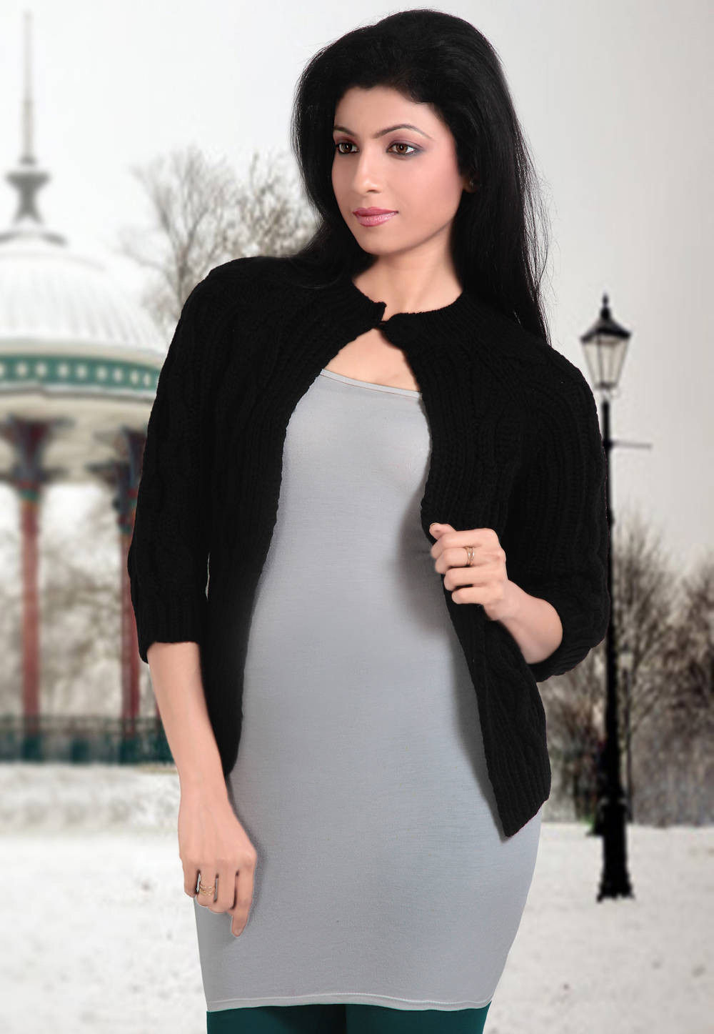 Front Open Acro Woolen Knitted Cardigan in Black