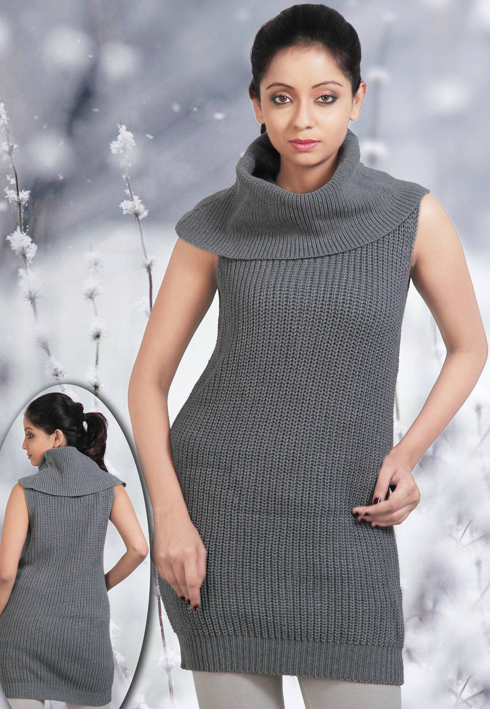Cotton Cowl Neck Cardigan in Grey