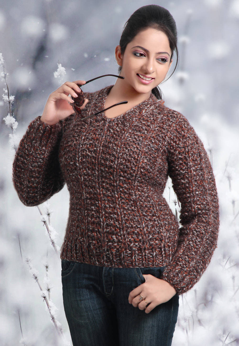 Acro Woolen Hand Knitted Cardigan in Brown