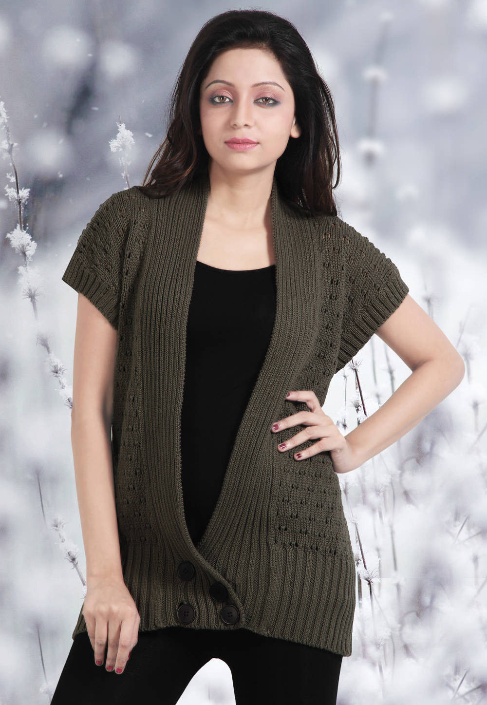 Cotton Woolen Cardigan in Olive Green